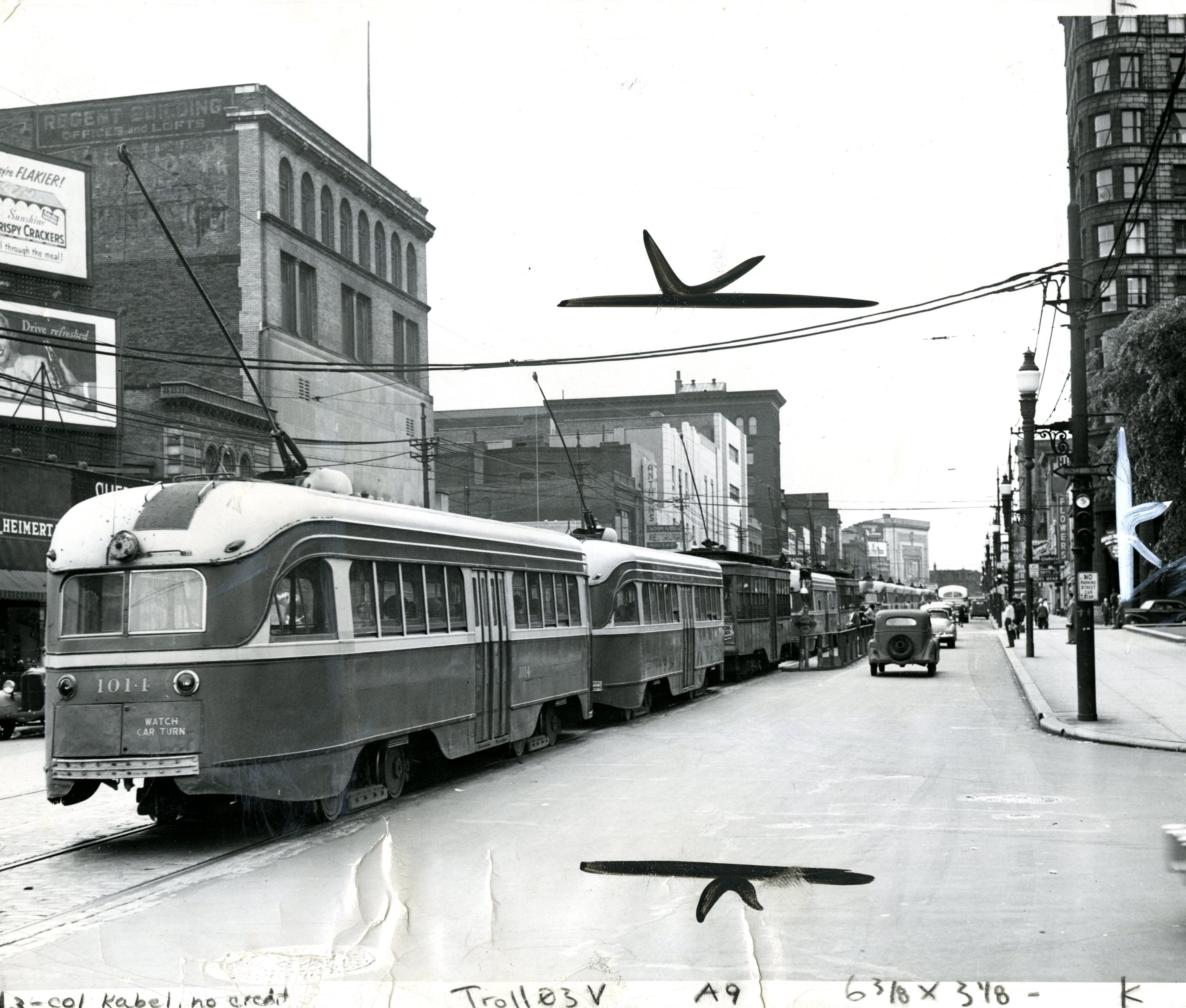 Trolley cars in East Liberty