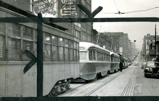 Trolley cars in Oakland, a sprawling traffic jam