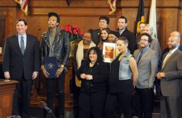 Khalifa with family and members of Pittsburgh City Council after a proclamation ceremony in 2011. (Darrell Sapp/Post-Gazette)