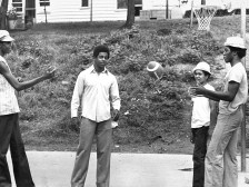 Tossing the ball with a few friends in the neighborhood. (The Pittsburgh Press)