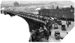 Opening ceremonies on the Liberty Bridge on March 27, 1928. (Post-Gazette)