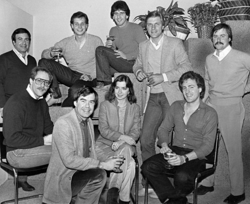 "Gathered with their publishers are some of the entrants from the book ""The Most Eligible Bachelors in Pittsburgh."" They are, from left, front row, Arthur Simon, publishers G. Brinton Motheral III and Gretchen Burkhart, and Stephen Balaban; second row, Stan Cohen, Oreste Scioscia, Frank Copeland, Stanley Martin and Scott Sprague. (Original caption in .)Nov. 20, 1981 Pittsburgh Press"