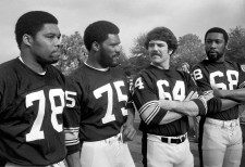 Defensive lineman Dwight White, Joe Greene, Steve Furness and L.C. Greenwood. (Morris Berman/Post-Gazette)