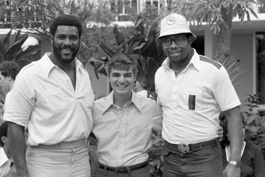 Steelers Joe Greene and Dwight White with Pittsburgh mayor Richard Caliguire. (Morris Berman/Post-Gazette)