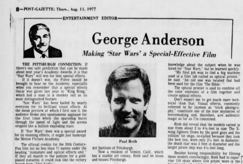 """George Anderson interviews """"Star Wars: A New Hope"""" optical photography coordinator and Pittsburgh native Joseph Paul Roth in the Post-Gazette's Aug. 11, 1977, edition."""