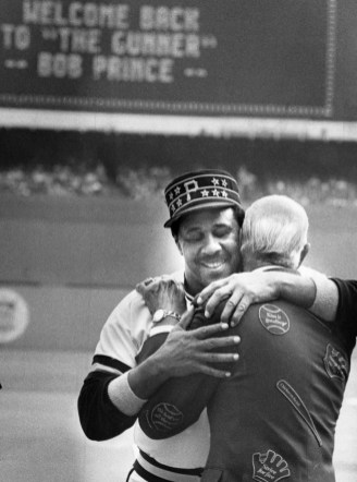 Willie Stargell hugs Pirates broadcaster Bob Prince during ceremonies honoring the franchise legends at Three Rivers Stadium in 1982. (Pittsburgh Press)