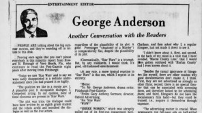 "Readers critique George Anderson's review of ""Star Wars: A New Hope"" in the Post-Gazette's July 12, 1977, edition."