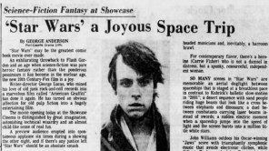 "Post-Gazette film critic George Anderson reviews ""Star Wars: A New Hope"" in the paper's May 25, 1977, edition."