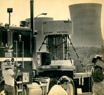 The final container of radioactive waste is transported from the Three Mile Island plant April 3, 1979, headed for the U.S. Department of Energy facility in Richland, Wash. (Associated Press)