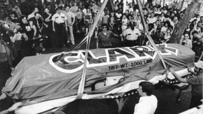 "Unofficially labeled the ""Largest Candy Bar in the World,"" a 3,100 lb. Clark Bar is brought to Kennywood Park. The bar was an attempt to break a Guinness World Record. Picture taken Aug. 14, 1981. (Pittsburgh Press)"