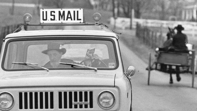 Levi Fisher, at the time considered the only Amish mailman in the country, delivers mail to an Amish community East of Pittsburgh. Picture published May 21, 1974. (Post-Gazette)