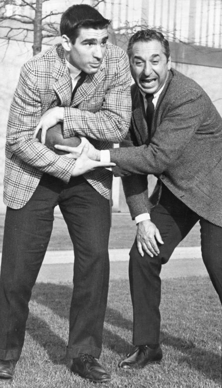 Marshall Goldberg Jr. (left) and Marshall Goldberg Sr. (right) pose on Pitt's campus. Photo published April 19, 1959.