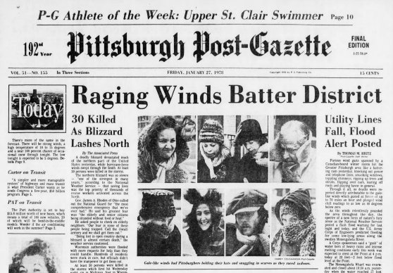 Page A-1 of the Pittsburgh Post-Gazette on Jan. 27, 1978.