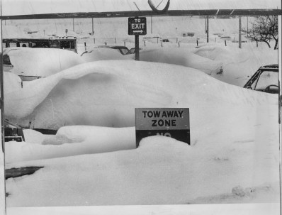 Windblown snow covers cars in the parking lot at Greater Pittsburgh Airport on Jan. 21, 1978.