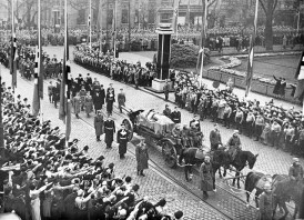 A funeral procession fileds through the streets of Dusseldorf, Germany, Nov. 16, 1938, carrying the body of Ernst Vom Rath (Associated Press)
