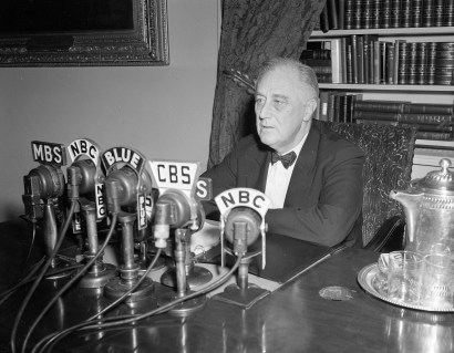 President Franklin D. Roosevelt broadcasts his annual message to Congress, Jan. 11, 1944, in Washington. (Associated Press)