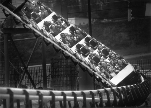 The Steel Phantom roller coaster screamed down its first drop yesterday with Kennywood employees holding on for dear life on May 7, 1991. (Steve Mellon/Post-Gazette)