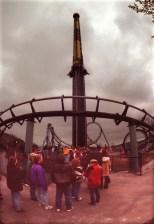 Riders wait for a turn on Pitt Fall on April 17, 1997. (Darrell Sapp/Post-Gazette)