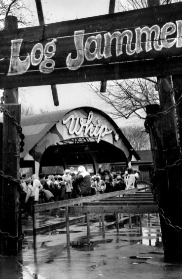 Two Kennywood things that aren't there anymore, as pictured on March 17, 1983 -- the Whip, which was relocated to the Lost Kennywood section of the park in 1995, and the Log Jammer, which was closed after the 2017 season. (Carol Martin)