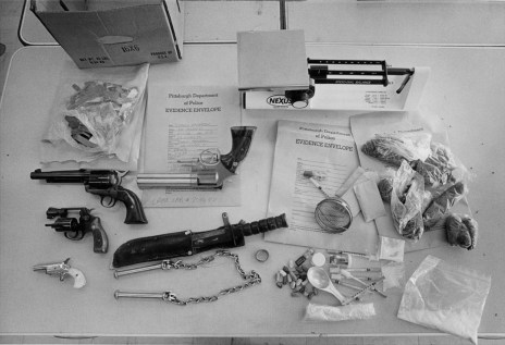 Evidence seized in a 1986 drug raid. (Tony Tye/Pittsburgh Post-Gazette)