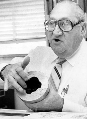 Wayne Martin, senior designer at U.S. Steel's Homestead Works, holds a coupling for rolling mills, one of 12 patents he had pending when this photo was taken in November 1982. (Albert M. Herrmann Jr./Pittsburgh Press) https://archives.post-gazette.com/image/142964379/?terms=%22wayne%2Bmartin%22%2Bus%2Bsteel