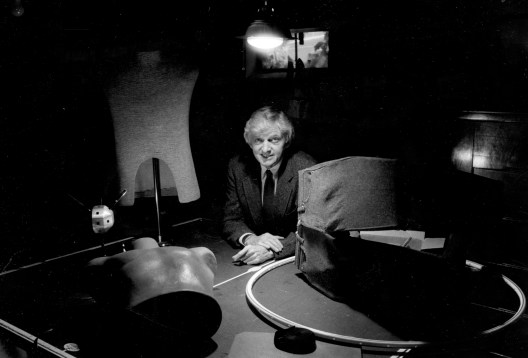 Inventor Malcomb Toy of Edgewood in his workshop, Nov. 2, 1990. (Vince Musi/Pittsburgh Press)