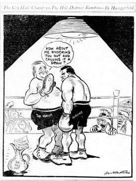 John J. Verona depicted as a boxer by Post-Gazette editorial cartoonist Cy Hungerford.