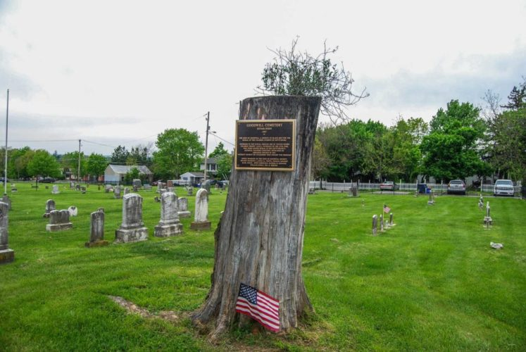 """A plague at Goodwill Cemetery, also called Lincoln Cemetery, established in 1867 off Long Lane in Gettysburg. The plaque states that the cemetery was created by """"the Sons of Goodwill, a society of black men for the burial of the colored citizens of Gettysburg. Interred in this burial ground are 30 United States Colored Troops (USCT), veterans of the Civil War who were denied burial in Gettysburg's National Soldiers Cemetery, dedicated by Abraham Lincoln in 1863. 'Without the benefit of citizenship they fought for freedom.' Noted members of the Sons of Goodwill Society are Nelson Mathews, Lloyd F.A. Watts, Thomas Grigsby, Basil Biggs, Owen Robinson, Randolph Johnson, William Burly, Wm. H. Roster."""" (Stephanie Ritenbaugh/Post-Gazette)"""
