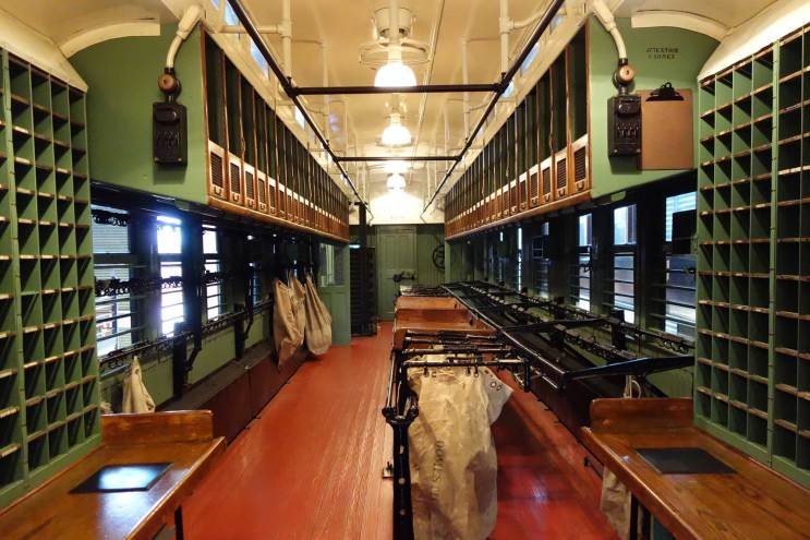 Steamtown's collection includes a 1914 Railway Post Office car on view in the History Museum. (Laura Legere/Post-Gazette)