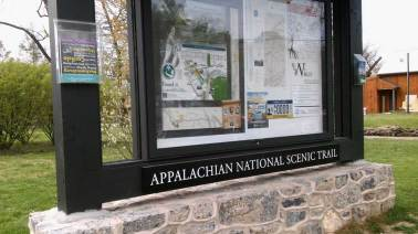 Signboard showing maps in front of the ATC's Mid-Atlantic region office in Boiling Springs, Cumberland County. (Don Hopey/Pittsburgh Post-Gazette)