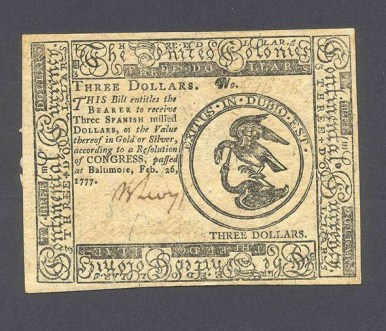 Front of a three-dollar bill in Continental Currency printed in 1777, from the John F. Reed collection, Valley Forge National Historical Park.