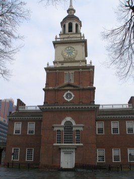The southern entrance to Independence Hall is adjacent to Independence Square, where modern-day re-enactors explain to tourists their characters' role in history
