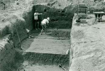 Seton Hall University led excavations at the Harry's Farm Site in the late 1960s early 1970s when a dam project was expected to inundate the flood plains north of the Delaware Water Gap. (National Park Service, DEWA Archives)