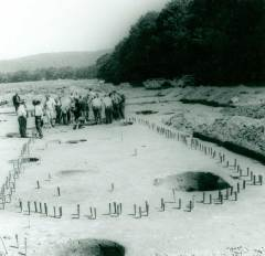 A longhouse pattern was found at the Miller Farm Site during an archaeological investigation by Seton Hall University in the Upper Delaware Valley. (National Park Service, DEWA Archives)