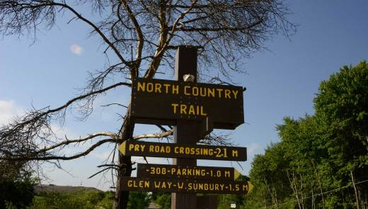 North Country National Scenic Trail signage at Route 308, north of the Waste Management entrance, leading toward Pry Road in West Sunbury. (Darrell Sapp/Post-Gazette)