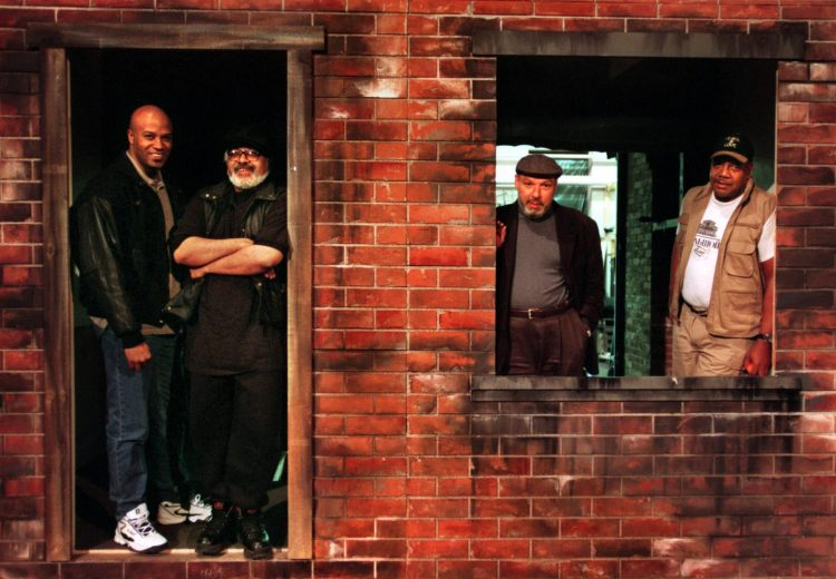"On the set for ""Fences"" at Pittsburgh Public Theater in 1999 are, from left,  Keith Glover, Marion McClinton, August Wilson and John Henry Redwood. (Bill Wade/Post-Gazette)"