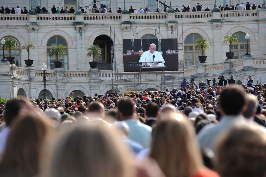 Crowds pack onto the West Front Lawn to hear Pope Francis address Congress during his visit to Washington, D.C., on Thursday.