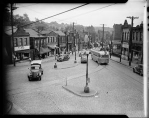 Herron Avenue at intersection of Milwaukee Street, Hill District, Pittsburgh, Pennsylvania, c. 1945 - 1949. (Photo by Getty Images)