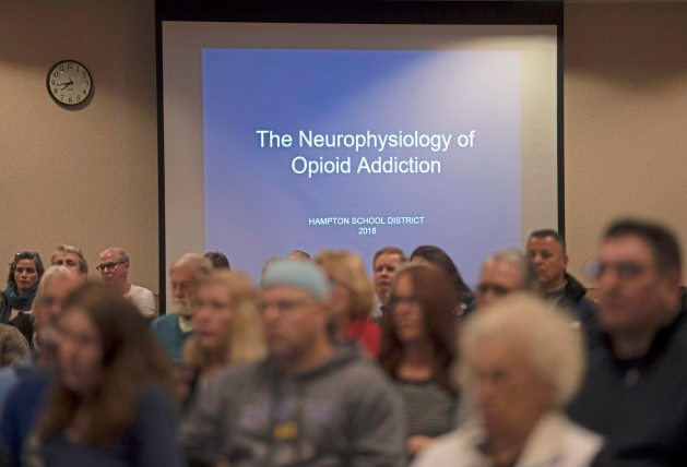 Attendees listen during the Hampton Community Opioid Partnership roundtable event on Thursday, Jan. 18, 2018, at the Hampton Community Center. (Steph Chambers/Post-Gazette)