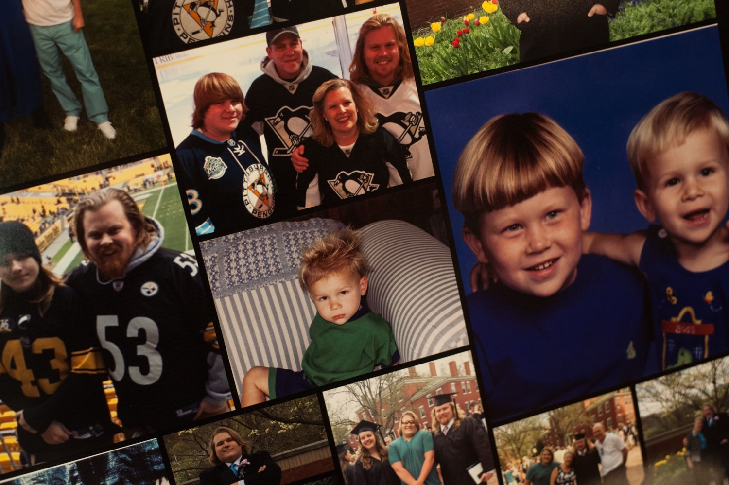 Photos of Spenser Flowers and his family cover one of several boards of memories that were displayed at his funeral after he died of an opioid overdose on Jan. 1, 2017. Stephanie Strasburg/Post-Gazette)