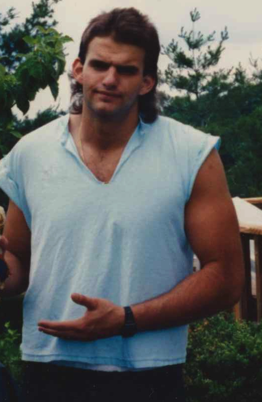 John Fetterman is pictured outside of his parents' home in York in August 1989. (photo courtesy of John Fetterman)