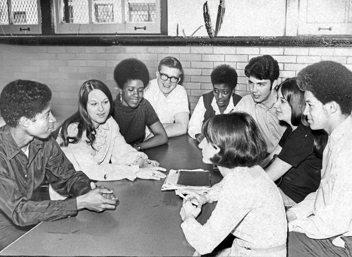 """""""The Committee,"""" a steering group of students formed to help address some of the problems at the time, meets to discuss racial harmony at Perry High School, April 23, 1970. (Pittsburgh Press)"""