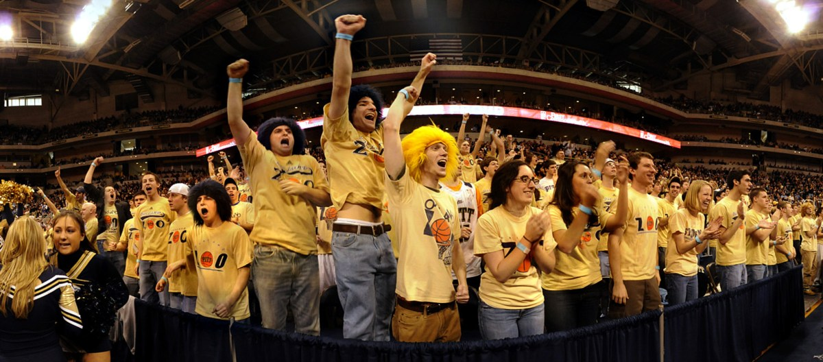 The Oakland Zoo erupts in the second half of a tight Big East game between Pitt and Louisville on Sunday, Feb. 24, 2008, at the Petersen Events Center. (Steve Mellon/Post-Gazette)