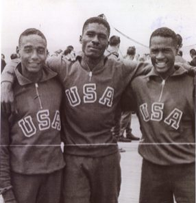 Lorenzo Wright, Willie Steele and Herb Douglas Jr. in England during the 1948 Olympics. (Courtesy of Heinz History Center)
