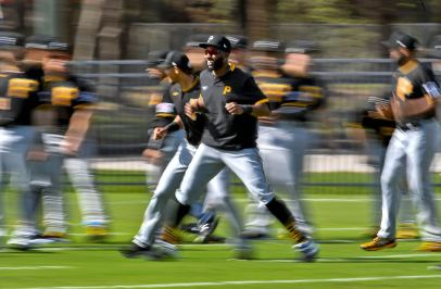 Pirates right fielder Gregory Polanco warms up before his team's first full practice at spring training, Monday, Feb. 17, 2020, at Pirate City in Bradenton, Fla. (Matt Freed/Post-Gazette)