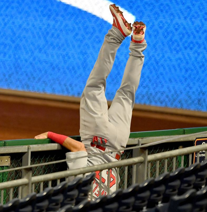 Cardinals right fielder Rangel Ravelo ends up in the seats while trying to chase down a foul ball hit by Pirates catcher Jacob Stallings, Thursday, Sept. 17, 2020, at PNC Park on the North Shore. (Matt Freed/Post-Gazette)