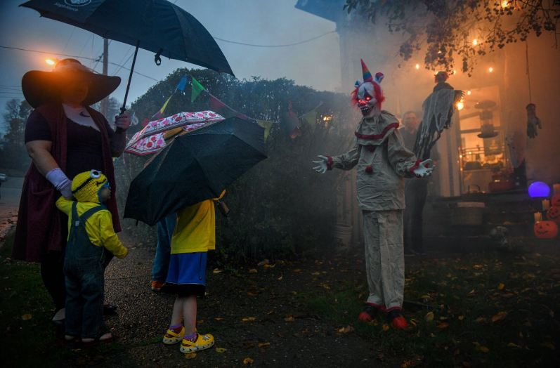 A creepy Halloween display caught the attention of trick-or-treaters at Brian Sable's house, Thursday, Oct. 29, 2020, in Coraopolis. Coraopolis was one of only two towns in Western Pennsylvania to conduct trick-or-treating on Thursday night. The other was Beaver. (Steve Mellon/Post-Gazette)