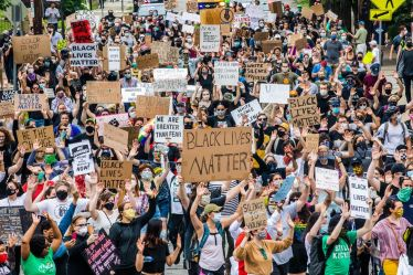 Allies for Black Lives protestors march through Shadyside supporting the Black Lives Matter movement, Friday, June 5, 2020. (Andrew Rush/Post-Gazette)