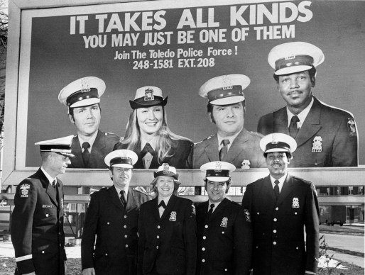 """The campaign """"It Takes All Kinds"""" was designed to encourage men and women from 21 to 31 years old with a high school diploma or equivalent to apply to take an upcoming civil service examination for patrol positions in 1975. Blade file photo"""
