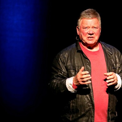 William Shatner, who is known for his portrayal of Captain Kirk in the Star Trek franchise, speaks after a showing of Star Trek II: The Wrath of Khan at the Stranahan Theater in Toledo on Thursday, March 7, 2019. THE BLADE/KURT STEISS